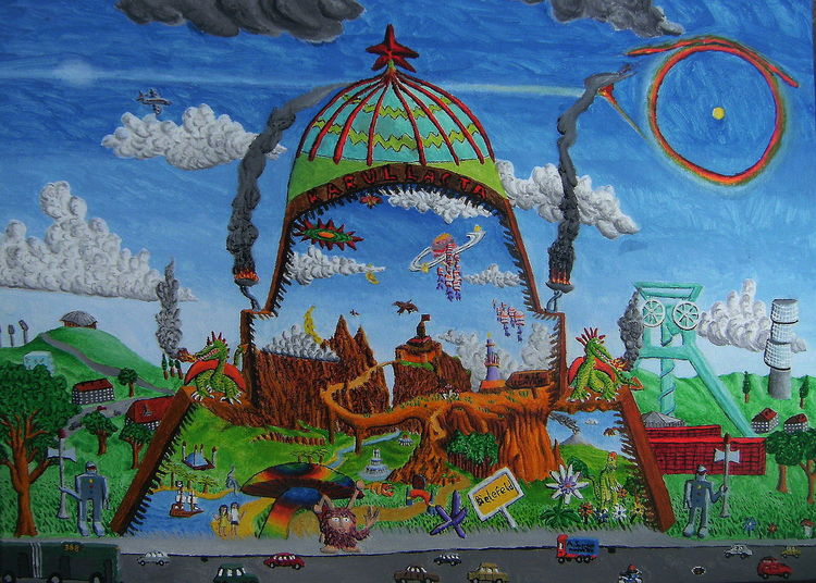 Halo, Landschaft, Straße, Acrylmalerei, Drache, Naive malerei