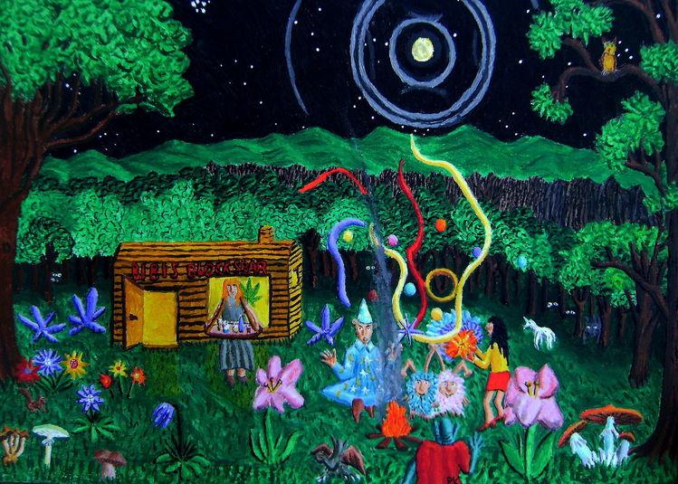 Mond, Pilze, Blockhütte, Acrylmalerei, Baum, Zauberer