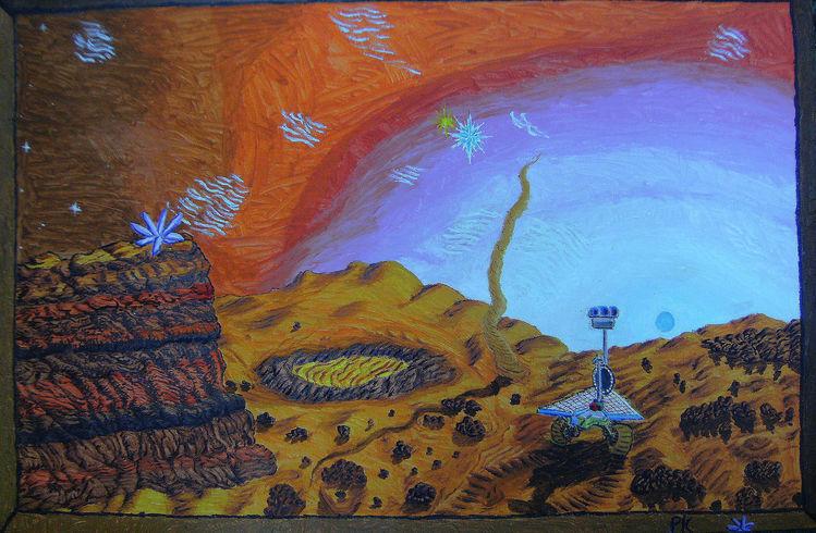 Sonnenuntergang, Naive malerei, Felsen, Mars, Wüste, Roboter