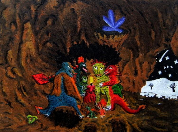 Höhle, Ölmalerei, Drache, Kerzen, Kristall, Malerei
