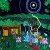 Blockhütte, Acrylmalerei, Baum, Zauberer