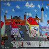 Acrylmalerei, Haus, Radfahren, Berlin