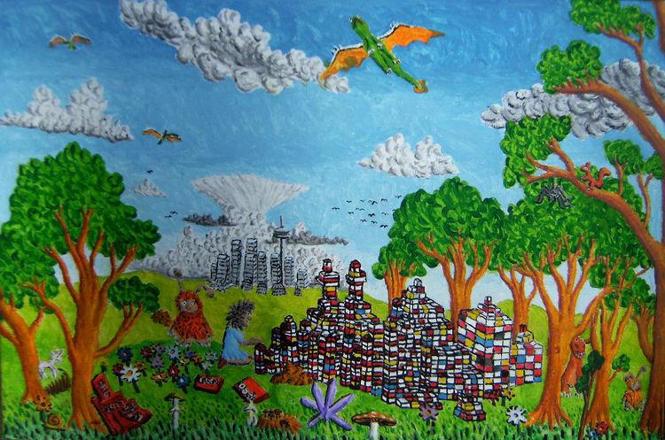 Drache, Mädchen, Lego, Baum, Malerei, Phantasiebilder