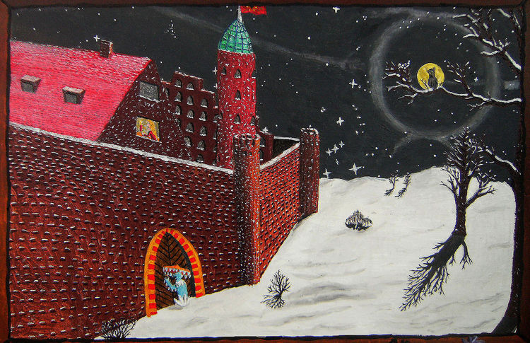 Malerei, Nacht, Schnee, Tor, Winter, Burg