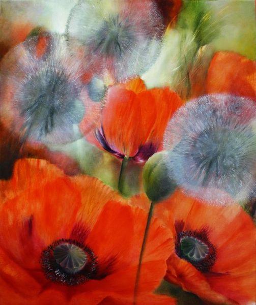 Pusteblumen, Mohn, Malerei, Blumen