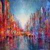 Fluss, Stadt, Skyline, Reflexion