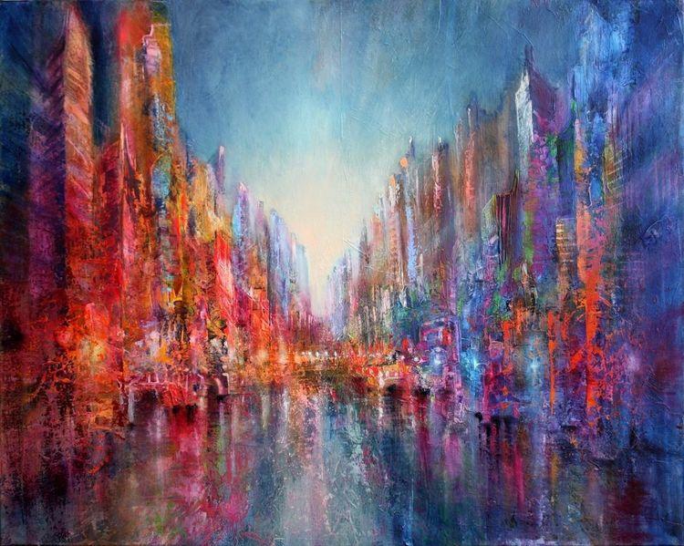 Fluss, Stadt, Skyline, Reflexion, Haus, Straße