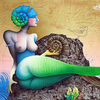 Fantasiefigur, Acrylmalerei, Ammonit, Mischtechnik