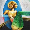 Ammonit, Fantasiefigur, Acrylmalerei, Muschel