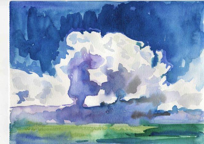 Wolken, Himmel, Württemberg, Landschaften in baden, Malerei, Aquarell