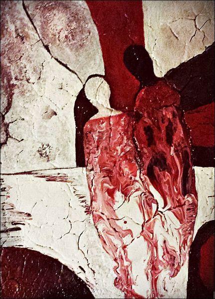 Malerei, Serie, Vi, Rot, Braun, Weiß