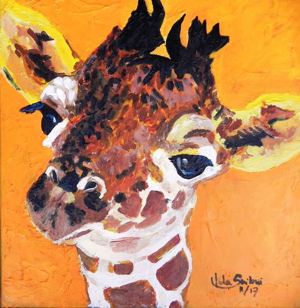 Baby, Kinder, Giraffe, Sommer, Braun, Bunt