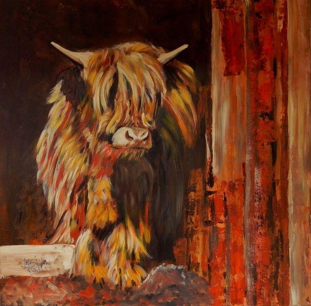 Bauernhof, Acrylmalerei, Malerei, Hochland, Tiere, Rind