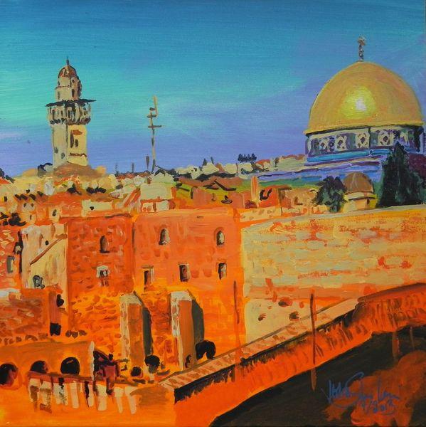 Architektur, Israel, Natur, Gold, Jerusalem, Orange