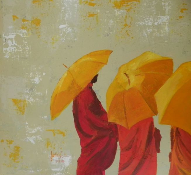 Heilig, Orange, Regenschirm, Religion, Malerei, Buddhismus
