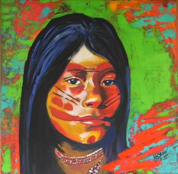 Portrait, Korallen, Regenwald, Acrylmalerei, Indiofrau, Amazonas