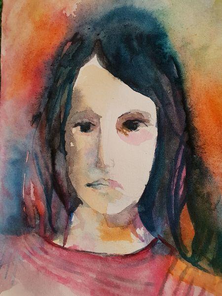 Bunt, Portrait, Mädchen, Aquarell