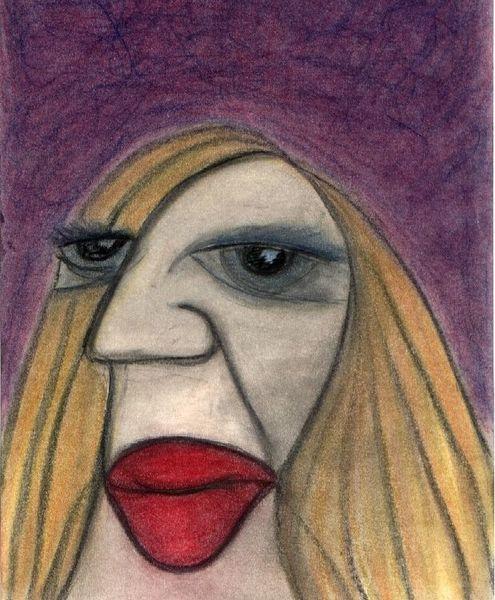 Eindruck, Frau, Karikatur, Dick, Malerei