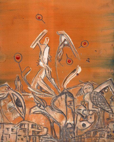 Straßenkampf, Orange, Straßentanz, Aquarell