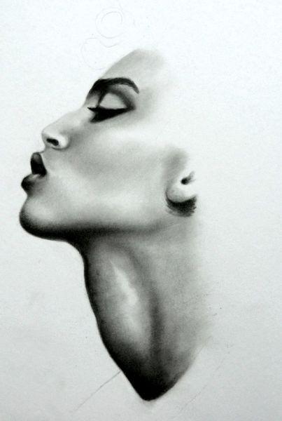 Frau, Profil, Malerei,