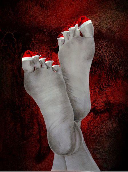 Rot, Weihnachten, Fuß, Mischtechnik