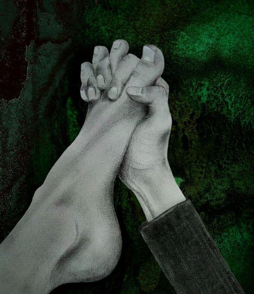 Zehe, Grau, Malerei, Fuß, Finger, Dunkel