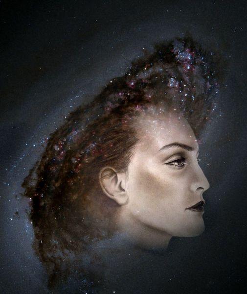 Galaxie, Profil, Kranz, Hut, Mischtechnik