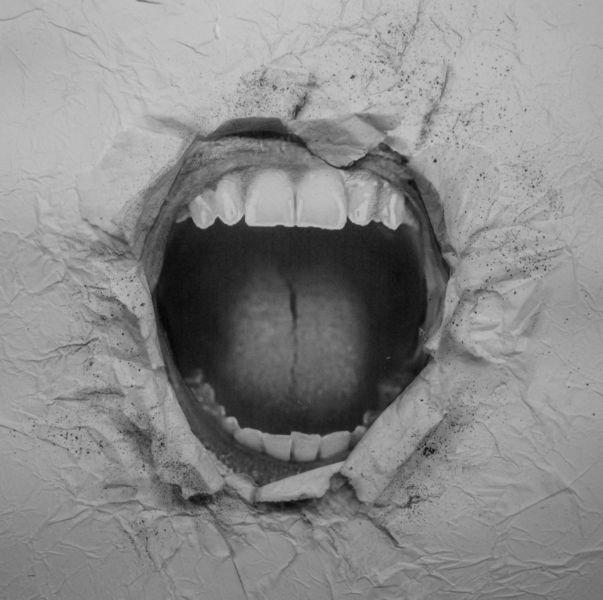 Durchfahrt, Lippen, Weiß, Mauer, Grau, Mund