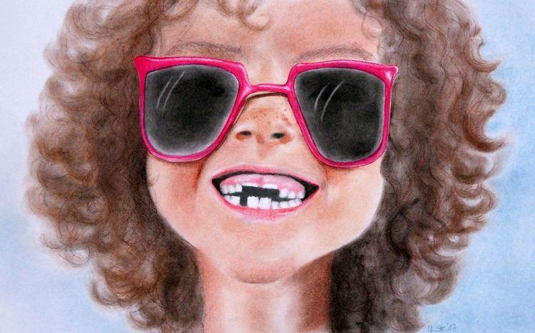 Brille, Zähne, Nichundneuetzähne, Kind, Lachen, Malerei