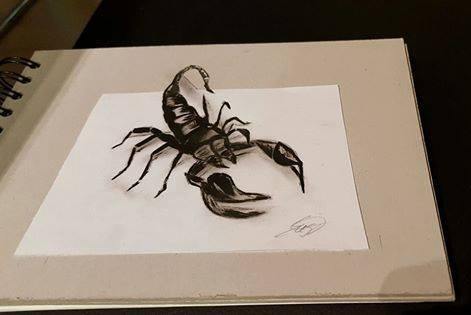 Ölmalerei, Illusion, Skorpion, 3d, Malerei
