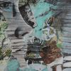 Abstrakt, Gesicht, Grün, Malerei