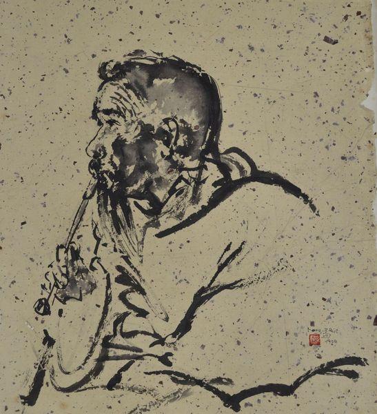 Mönch, Japan, Rauchen, Selbstgeschöpftes papier, Zeichnung, Japantusche