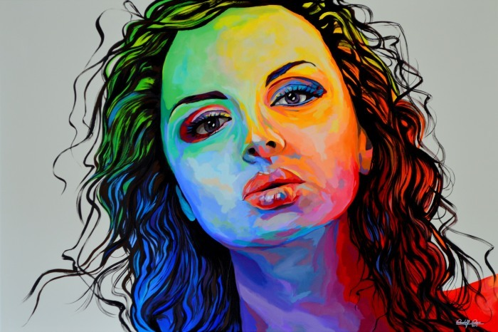 Zeitgenössisch, Acrylmalerei, Kreis, Gemälde, Portrait, Malerei