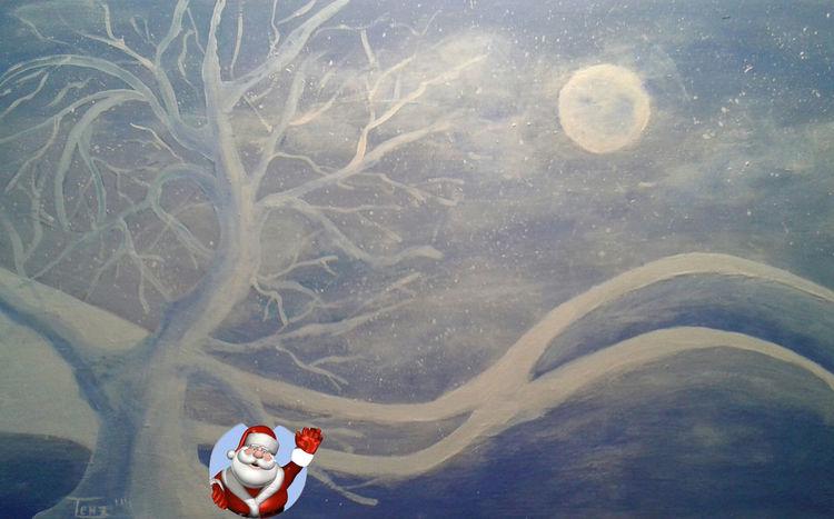 Weihnachtsmann, Weihnachten, Schnee, Akt, Malerei, Fest
