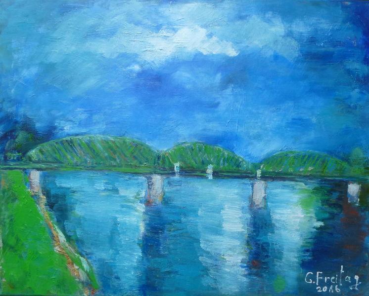 Linz, Brücke, Figurativ, Gegenständlich, Malerei, Realismus