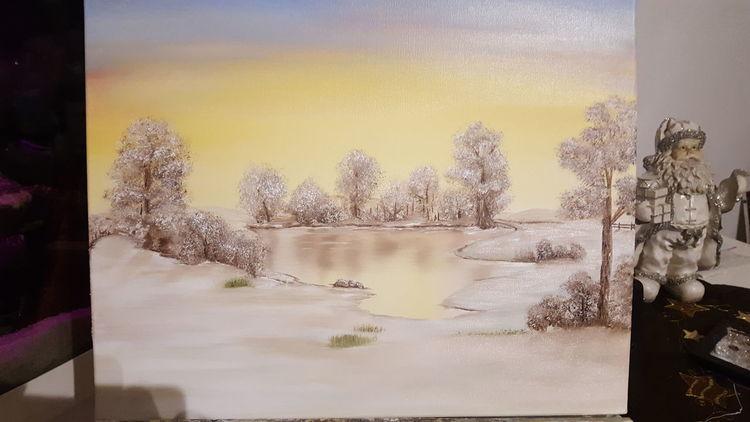 Wasser, See, Landschaft, Winter, Himmel, Baum