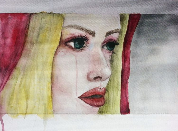 Red riding hood, Fantasiewesen, Portrait, Frau, Aquarellmalerei, Aquarell
