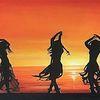 Sonnenuntergang, Tanz, Strand, Malerei