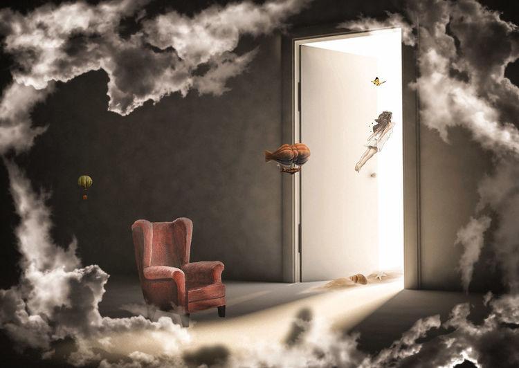 Haus, Magie, Tür, Mischtechnik