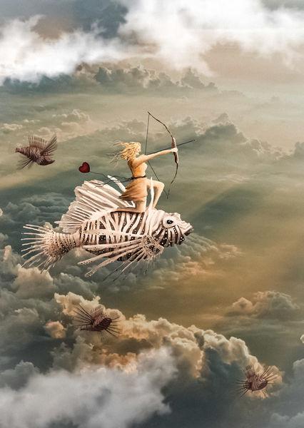 Wolken, Fantasie, Frau, Fisch, Licht, Traum