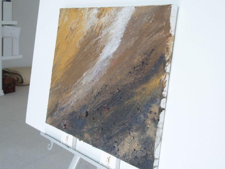 Im fluss, Pigmente, Acrylmalerei, Binder, Sand, Erdig