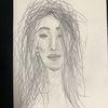 Haare, Bleistiftzeichnung, Junge frau, Ungekämmt