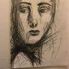 Gesicht, Junge frau, Kohlezeichnung, Zeichnungen