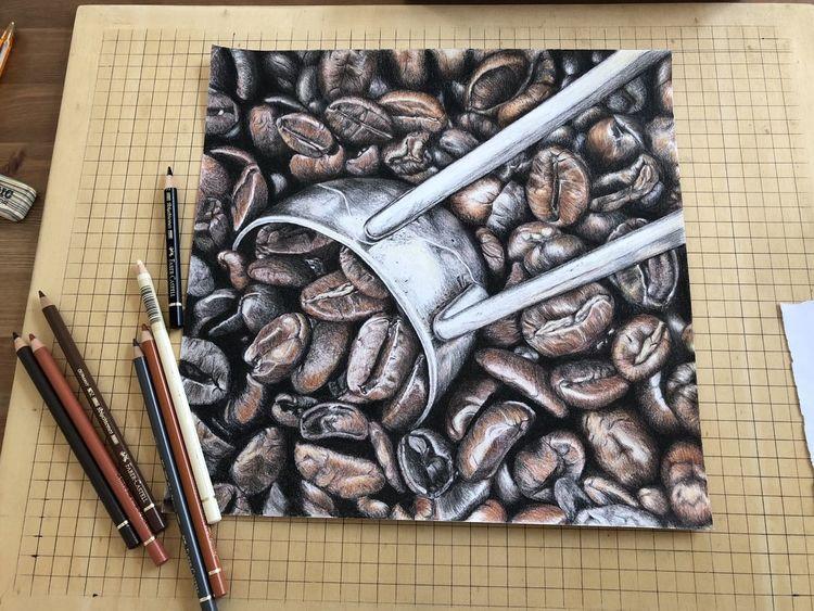 Kaffeebohnen, Buntstiftzeichnung, Polychromos, Zeichnungen, Kaffee