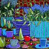 Blumen, Teekanne, Frühstück, Stillleben