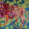sidus leonis ♌ - Sterne, Sternbild, Löwe, Blumen, Ornamente, Tier, Astronomie, blau, rot, grün, gelb, Himmel,
