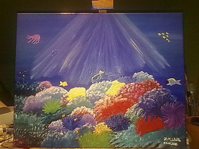 Fisch, Korallen, Unterwasserwelt, Malerei