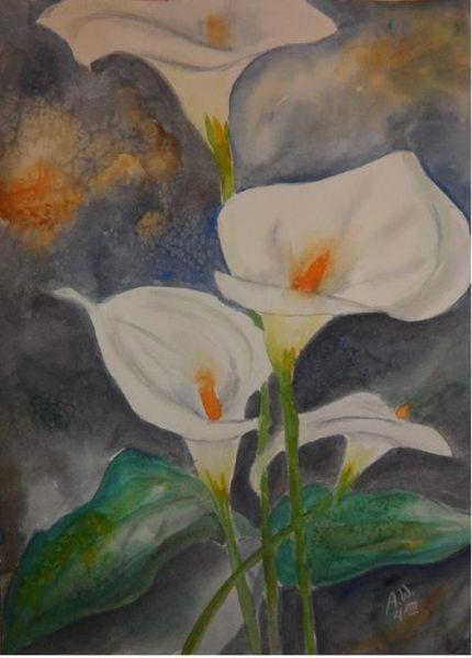 Pflanzen, Aquarellmalerei, Calla, Aquarell