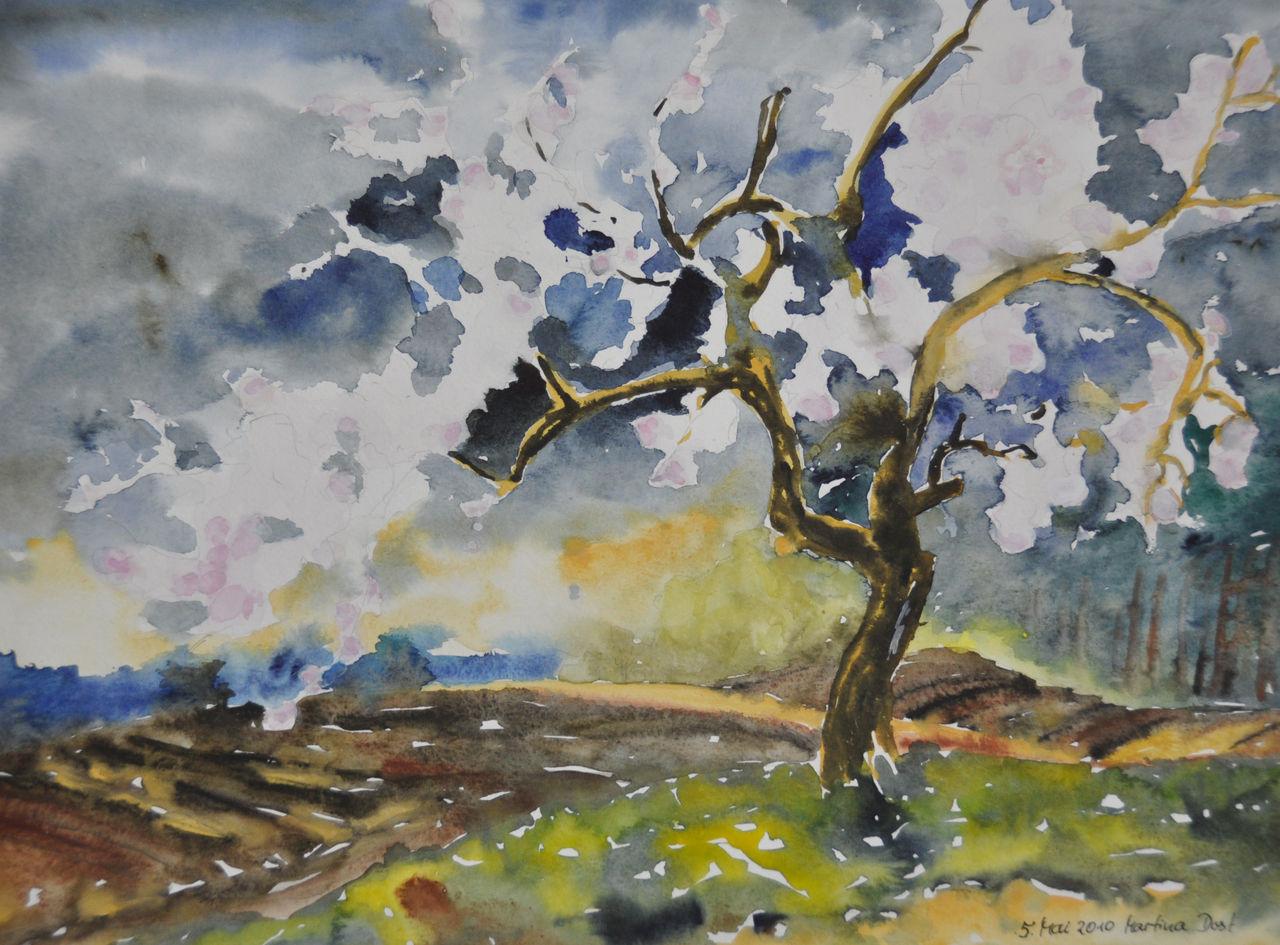 Kunstnet works watercolor landscape blühende bäume aquarell