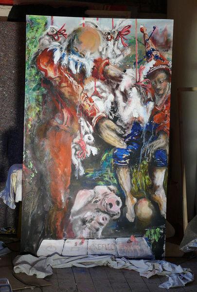 Baby, Chase, Menschen, Hase, Barock, Malerei